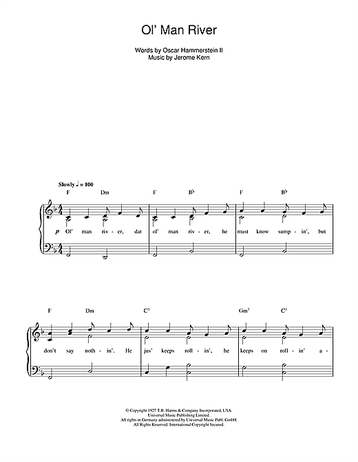 Ol' Man River Sheet Music