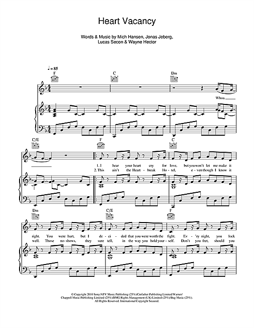 Heart Vacancy Sheet Music