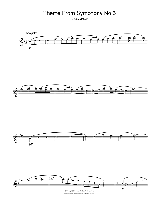 Adagietto from Symphony No.5 (4th Movement) Sheet Music