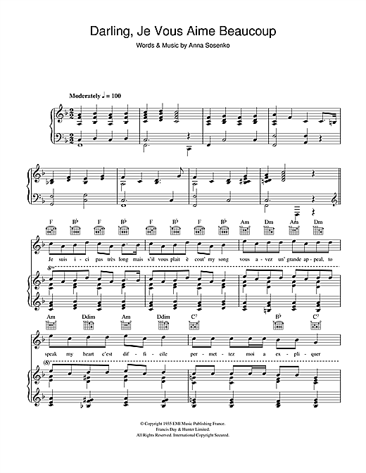Darling Je Vous Aime Beaucoup Sheet Music