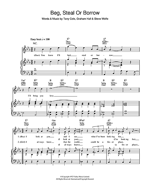 Beg, Steal Or Borrow (Piano, Vocal & Guitar (Right-Hand Melody))