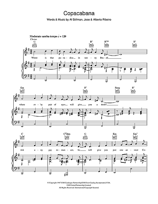 Copacabana Sheet Music