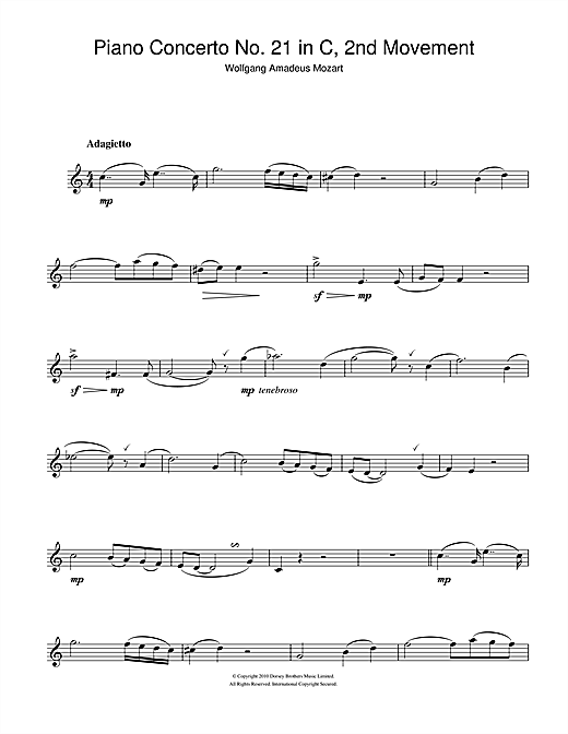 Piano Concerto No. 21 In C Major (Second Movement) Sheet Music