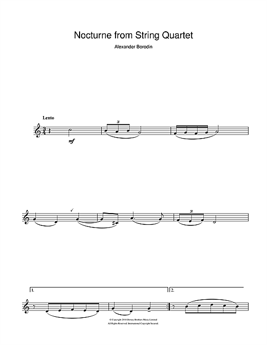Partition clarinette Nocturne From String Quartet No.2 de Alexander Borodin - Clarinette