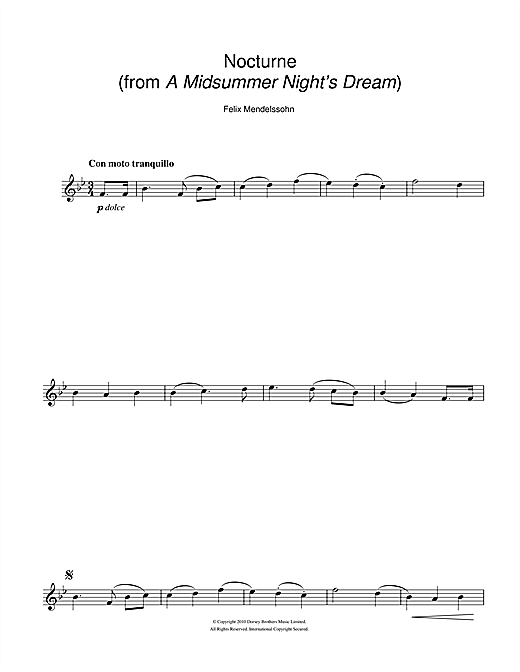 Partition saxophone Nocturne (from A Midsummer Night's Dream) de Felix Mendelssohn - Sax Alto