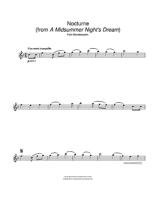 Partition flûte Nocturne (from A Midsummer Night's Dream) de Felix Mendelssohn - Flute traversiere