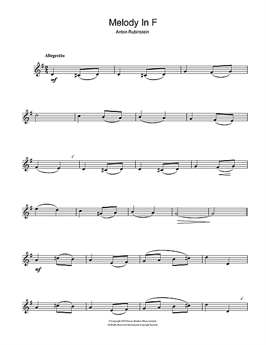 Melody In F Sheet Music
