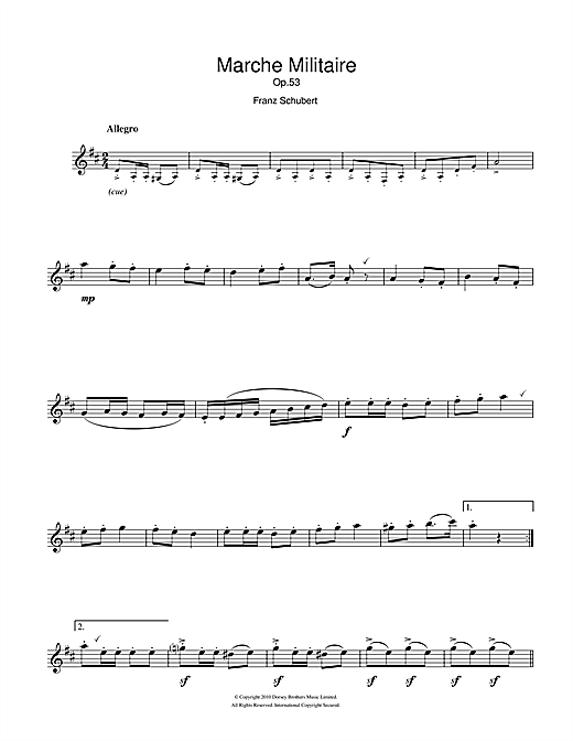 Marche Militaire Sheet Music