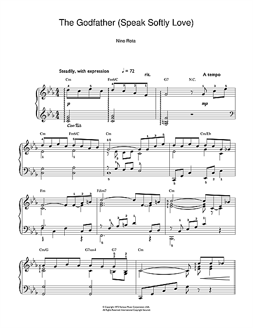 Partition piano Love Theme from The Godfather de Nino Rota - Piano Facile