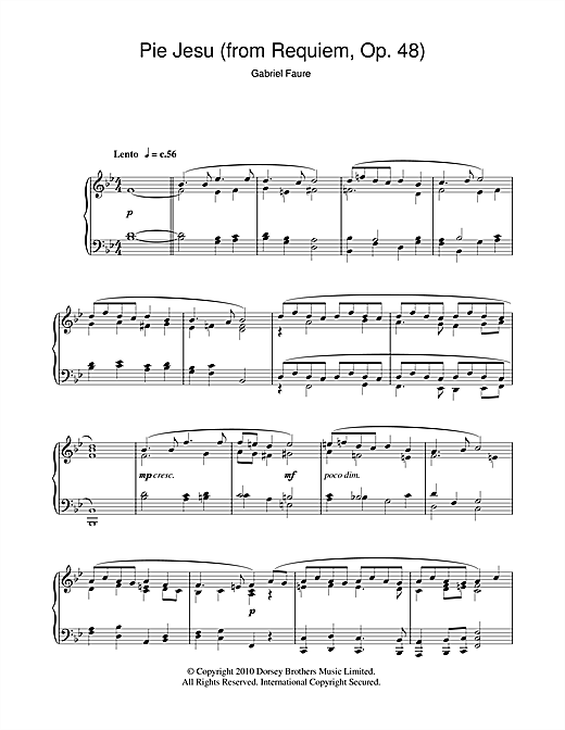 Pie Jesu (from Requiem, Op. 48) Sheet Music