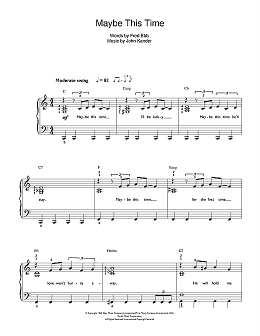 Partition piano Maybe This Time (from Cabaret) de John Kander - Autre
