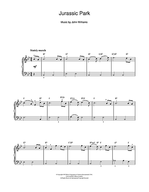 Theme from Jurassic Park Sheet Music