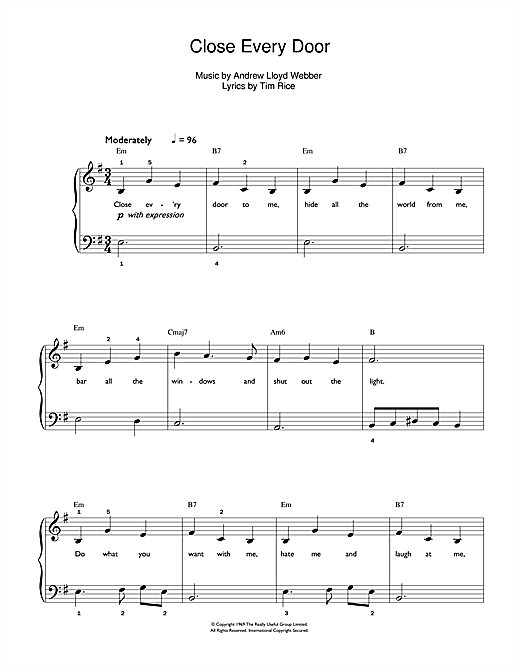 Close Every Door (from Joseph And The Amazing Technicolor Dreamcoat) Sheet Music