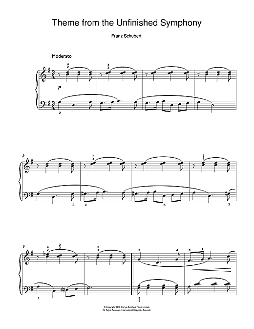 Partition piano Theme From The Unfinished Symphony de Franz Schubert - Piano Facile
