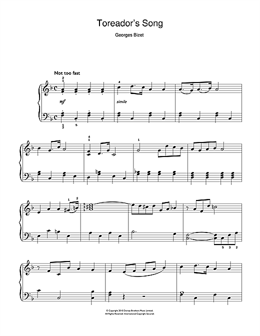 Toreador's Song (from Carmen) (Easy Piano)