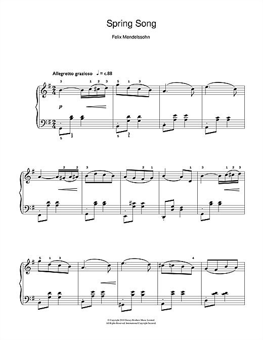 Partition piano Spring Song, from Songs Without Words, Op.62 de Felix Mendelssohn - Piano Facile