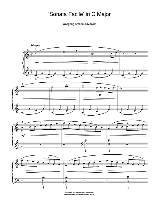 Allegro (from Piano Sonata In C K545) (Easy Piano)