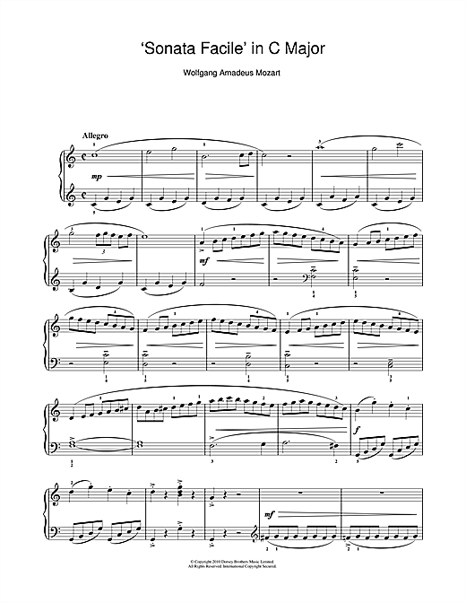 Partition piano Allegro (from Piano Sonata In C K545) de Wolfgang Amadeus Mozart - Piano Solo
