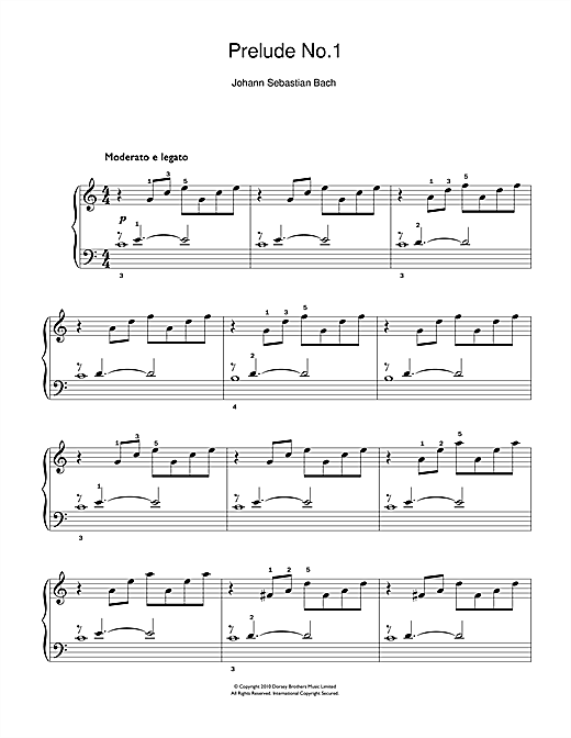 Prelude No.1 in C Major (from The Well-Tempered Clavier, Bk.1) (Beginner Piano)