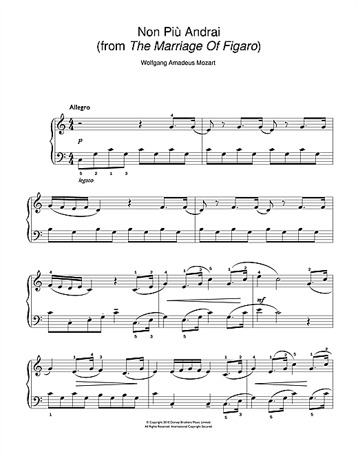 Non Più Andrai (from The Marriage Of Figaro) (Easy Piano)