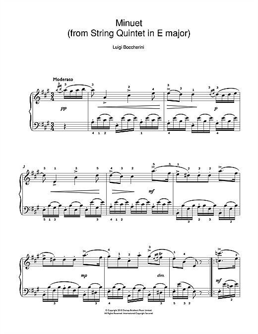 Partition piano Minuet (from String Quartet in E Major, Op.11 No.5) de Luigi Boccherini - Piano Facile