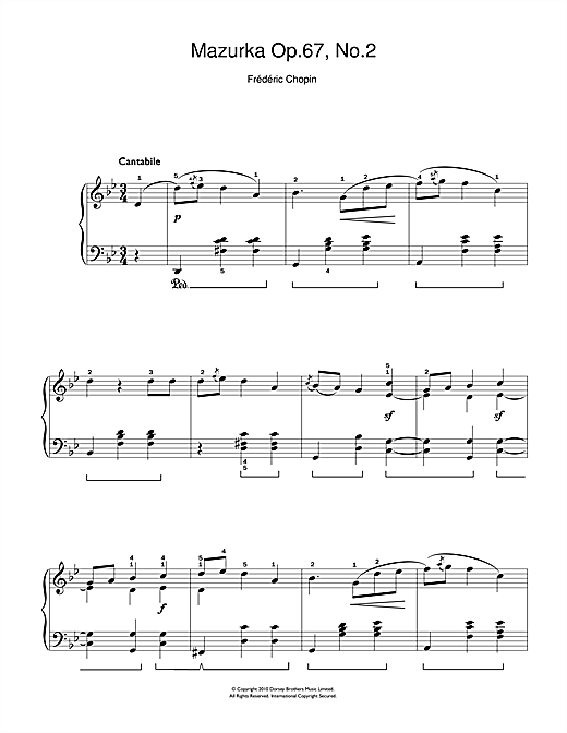 Mazurka Op. 67, No.2 Sheet Music