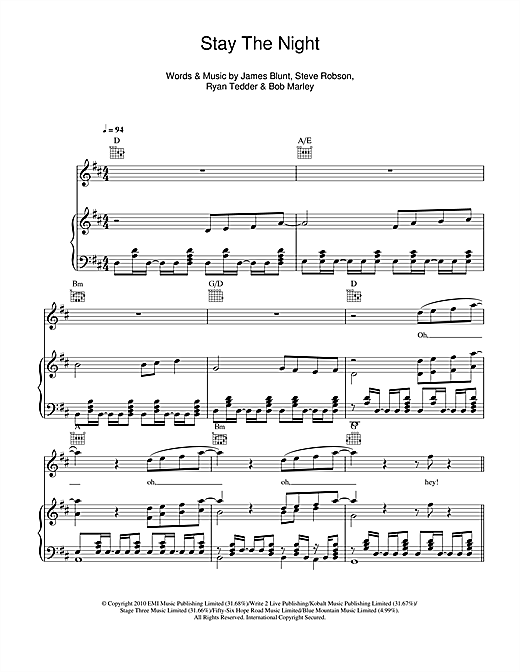 Stay The Night Sheet Music