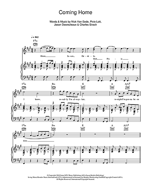 Coming Home (feat. Jason Derülo) Sheet Music