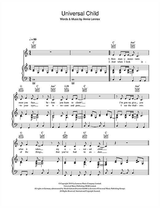 Universal Child Sheet Music