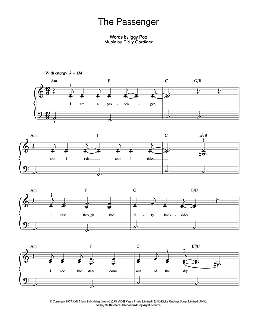 The Passenger Sheet Music