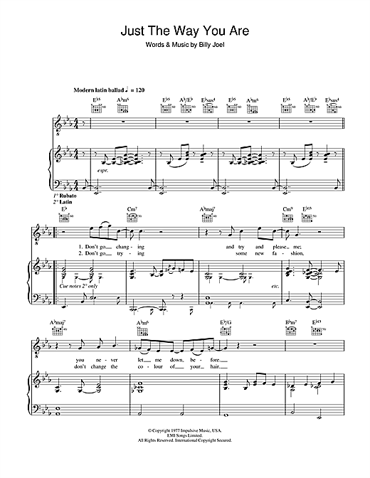 Just The Way You Are Sheet Music By Billy Joel Piano Vocal