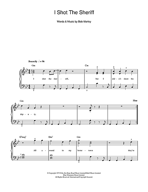 I Shot The Sheriff Sheet Music