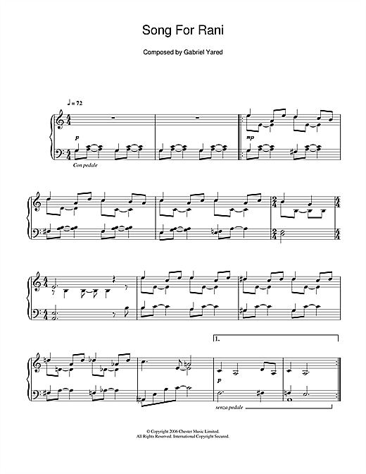 Partition piano Song For Rani de Gabriel Yared - Piano Solo