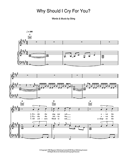 Why Should I Cry For You? Sheet Music