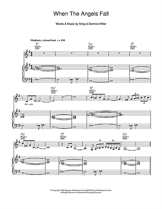 When The Angels Fall Sheet Music