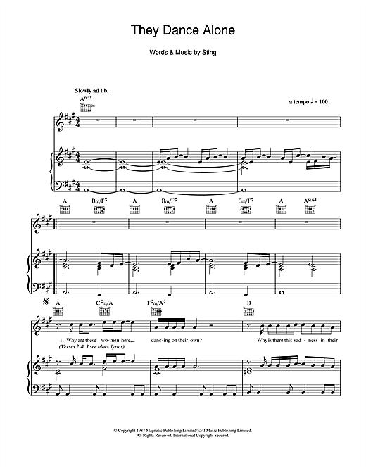 They Dance Alone (Gueca Solo) Sheet Music