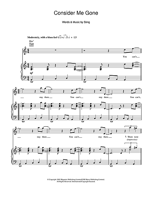 Consider Me Gone Sheet Music