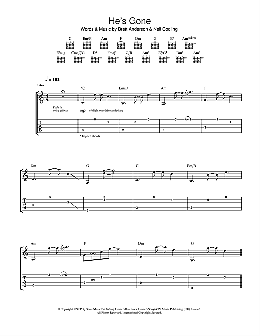 Tablature guitare He's Gone de Suede - Tablature Guitare