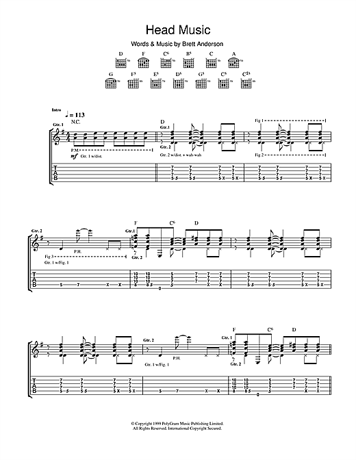 Tablature guitare Head Music de Suede - Tablature Guitare