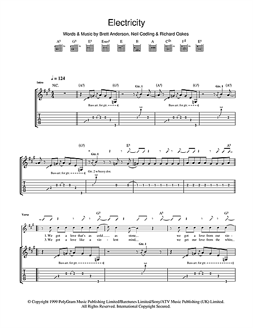 Electricity (Guitar Tab)