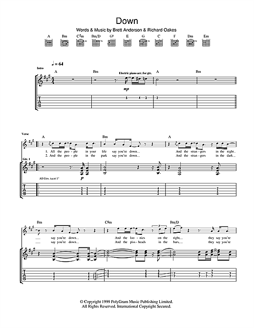 Down Sheet Music