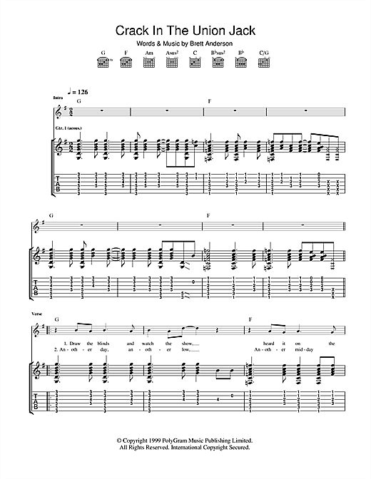 Crack In The Union Jack Sheet Music