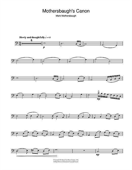 Mothersbaugh's Canon (from The Royal Tenenbaums) Sheet Music