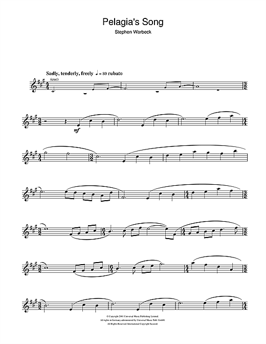 Partition saxophone Pelagia's Song (from Captain Corelli's Mandolin) de Stephen Warbeck - Sax Alto