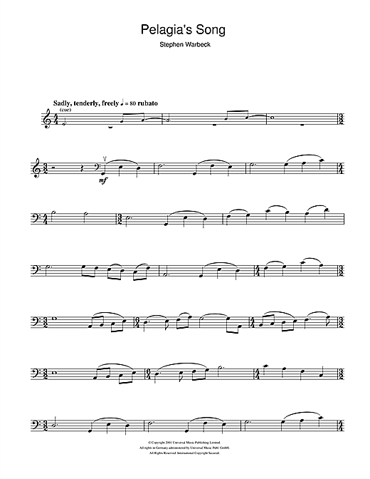 Partition autre Pelagia's Song (from Captain Corelli's Mandolin) de Stephen Warbeck - Violoncelle