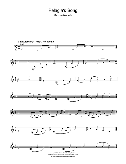 Partition flûte Pelagia's Song (from Captain Corelli's Mandolin) de Stephen Warbeck - Flute traversiere