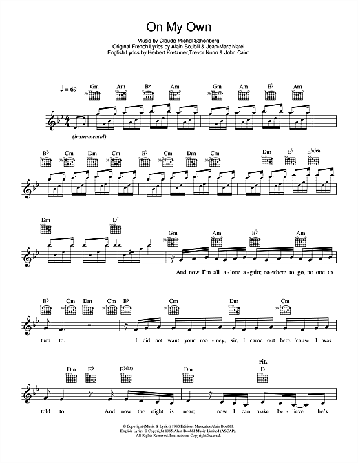 On My Own (from Les Miserables) (Lead Sheet / Fake Book)