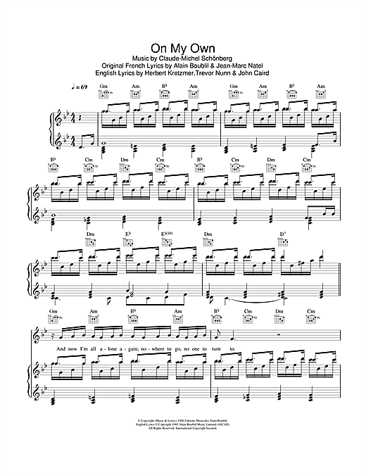 On My Own (from Les Miserables) Sheet Music
