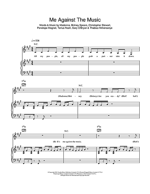 Me Against The Music (Remix) (feat. Madonna) Sheet Music