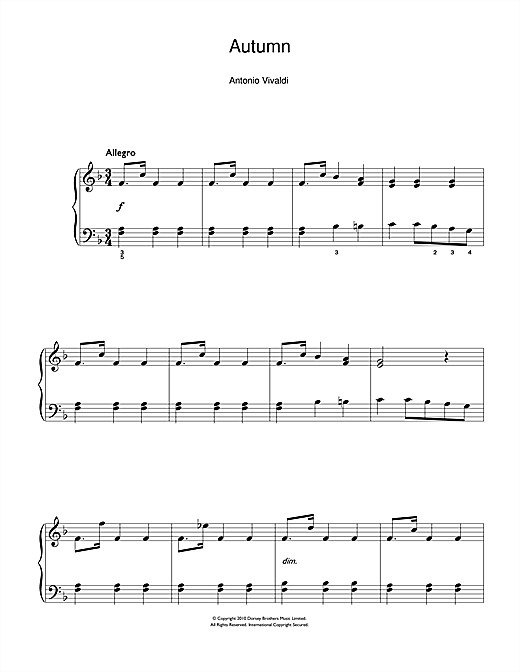 Autumn (from The Four Seasons) 3rd Movement Sheet Music